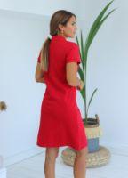 kirmizi-polo-yaka-midi-elbise