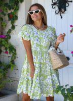 yesil-floral-desen-elbise